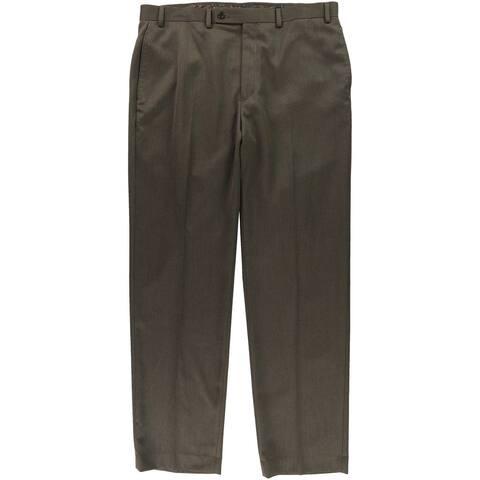 Ralph Lauren Mens Flat Front Stripe Dress Pants Slacks, Brown, 36W x 32L - 36W x 32L