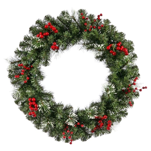 """30"""" Siegal Berry Pine w/ Holly Berries Artificial Christmas Wreath - Unlit - green"""