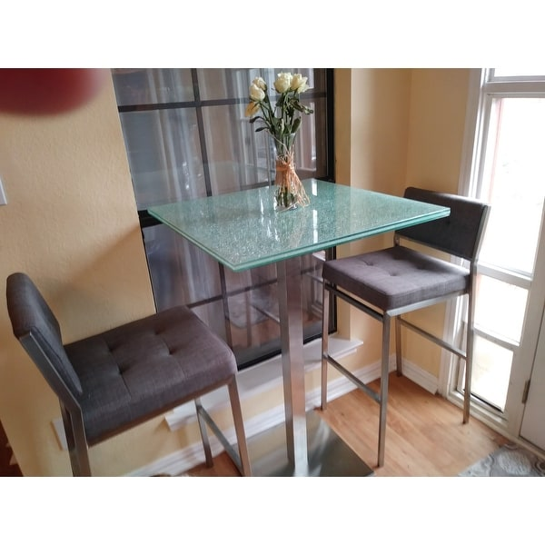 Shop Jenna Square Crackle Glass Pub Table   Free Shipping Today    Overstock.com   21426942