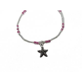 "Charming Shark Womens Beads with Starfish Anklet 9"" Pink"