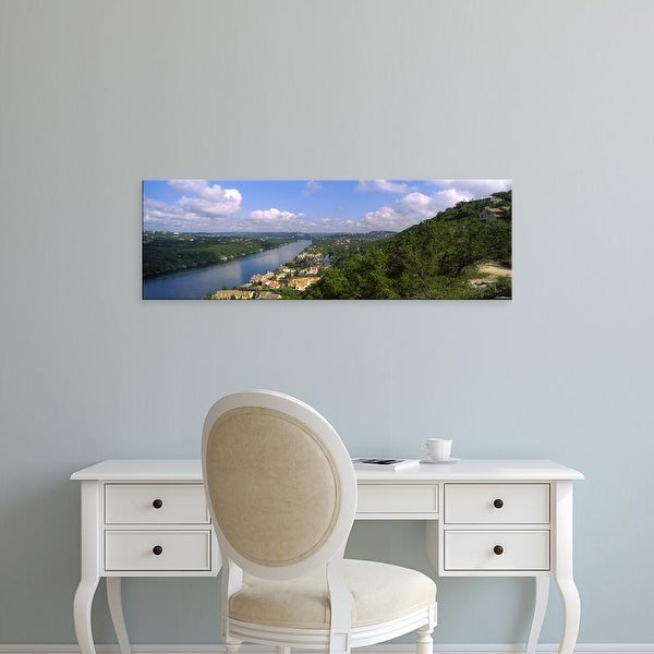 Easy Art Prints Panoramic Images's 'View of a city at the waterfront, Austin, Travis Texas' Premium Canvas Art
