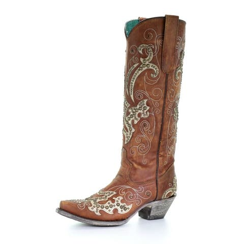 """Corral Western Boots Womens Stud Overlay Embroidery 13"""" Tan"""