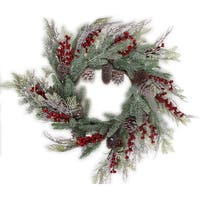 "Woodland Mix Pine Cone Berry Wreath 26""-"