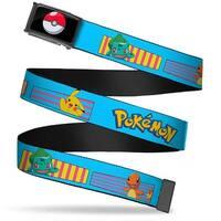 Poke Ball Fcg  Chrome Pokemon Kanto Starter Pokemon & Pikachu Stripe Web Belt