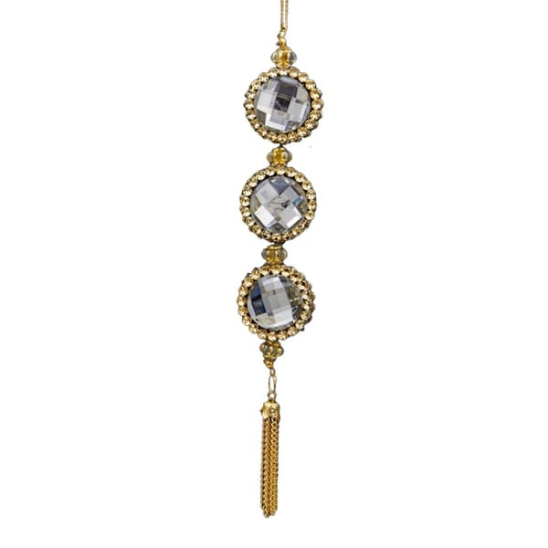 """7"""" Deco and Diamonds Gold and Clear Round Three-Jewel Christmas Drop Ornament"""