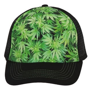 Marijuana Leaves Hollywood Trucker Mesh Hat - Black/Green