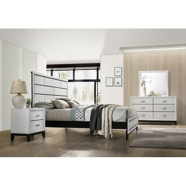Stout Contemporary Panel Bedroom Set in White Finish with Panel Bed, Dresser, Mirror, Night Stand