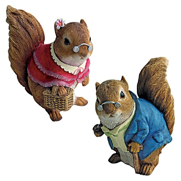 Design Toscano Grandmother and Grandfather Squirrel Statues Set of Two