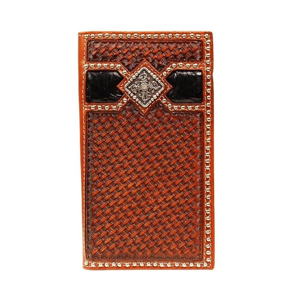 Ariat Western Wallet Mens Rodeo Weave Diamond Black Tan - One size