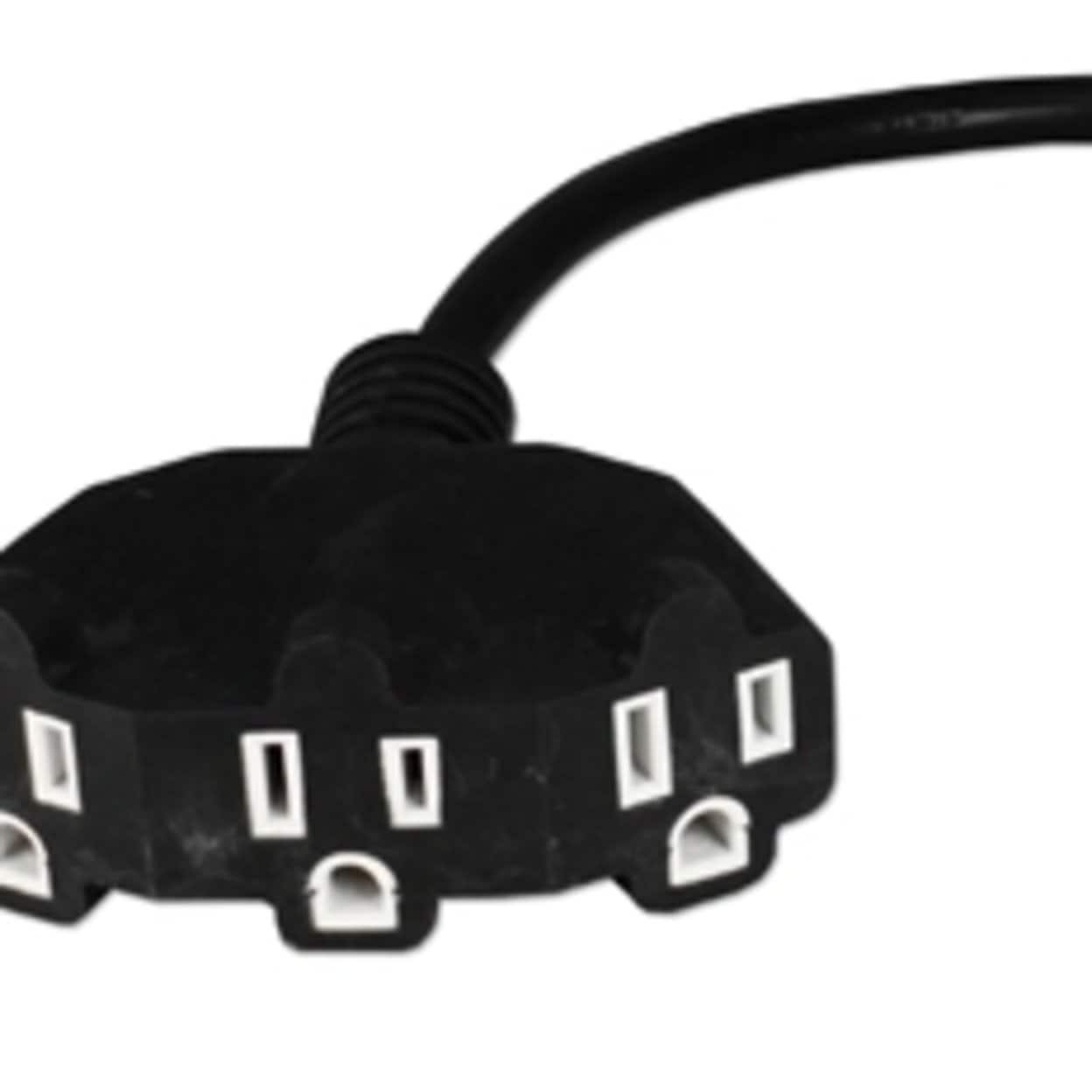 "QVS Outlet Saver 16/"" AC Power Splitter Adapter in Black"