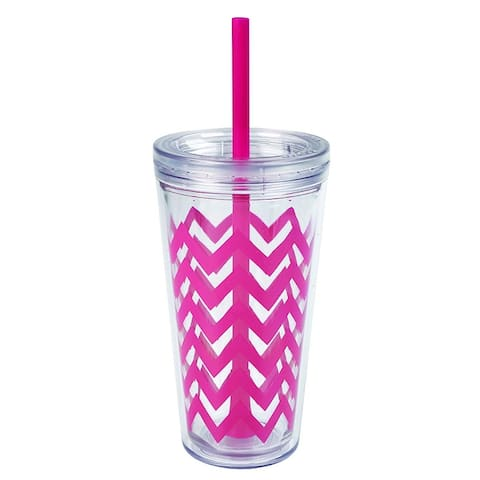 Copco Minimus Double Wall Insulated Tumbler with Removable Straw, 24-Ounce, Chevron Magenta Pink
