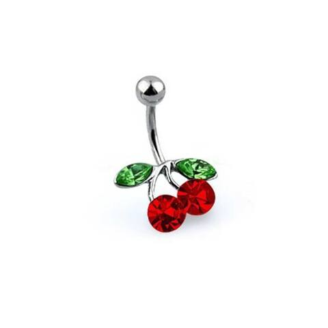 Red Crystal Cherry Branch Bar Navel Belly Ring 316L Stainless Steel