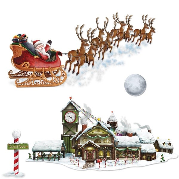 "Club Pack of 48 Christmas Santa's Sleigh and Workshop Props 8"" - 62"""