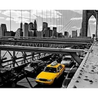 ''Yellow Cab on Brooklyn Bridge'' by Henri Silberman Transportation Art Print (15.75 x 19.75 in.)