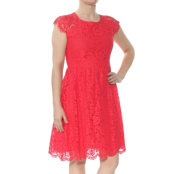 JESSICA SIMPSON Womens Coral Lace Printed Cap Sleeve Jewel Neck Above The Knee A-Line Party Dress Size: 6