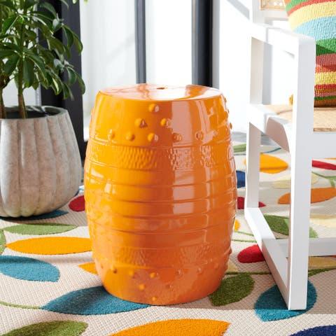 SAFAVIEH Frisco Indoor/ Outdoor Orange Ceramic Decorative Garden Stool