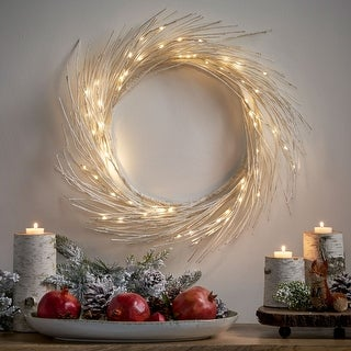 "Link to Reese 24"" Pre-lit Warm White LED Christmas Wreath - Dove Glitter Similar Items in Christmas Greenery"