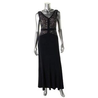 Lauren Ralph Lauren Womens Petites Evening Dress Lace Overlay Prom