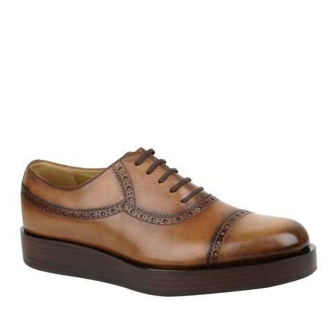 Gucci Men's Lace-up Leather Platform Oxford Shoes 353028