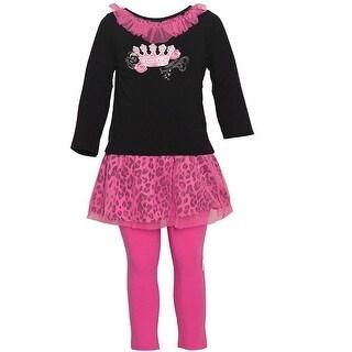 Vitamins Kids Baby Girls Black Pink Crown Leopard Print 2 Pc Legging Set