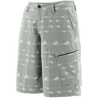 Huk Men's KC Scott Lines Hybrid Grey Size 28 Lite Shorts