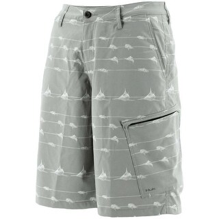 Huk Men's KC Scott Lines Hybrid Grey Size 30 Lite Shorts