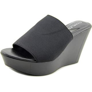 Charles By Charles David Frances Open Toe Canvas Wedge Sandal|https://ak1.ostkcdn.com/images/products/is/images/direct/ad1886667f5bca800ffe880efa846a4db396d533/Charles-By-Charles-David-Frances-Women-Open-Toe-Canvas-Black-Wedge-Sandal.jpg?impolicy=medium