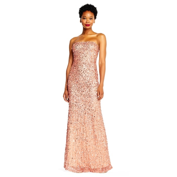 63e01ade3f Adrianna Papell Strapless Long Crunchy Bead Gown, Rose Gold, 18