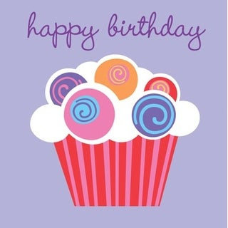 "Club Pack of 384 Purple Sweet Cupcake ""happy birthday"" 2-Ply Beverage Party Napkins 5"""
