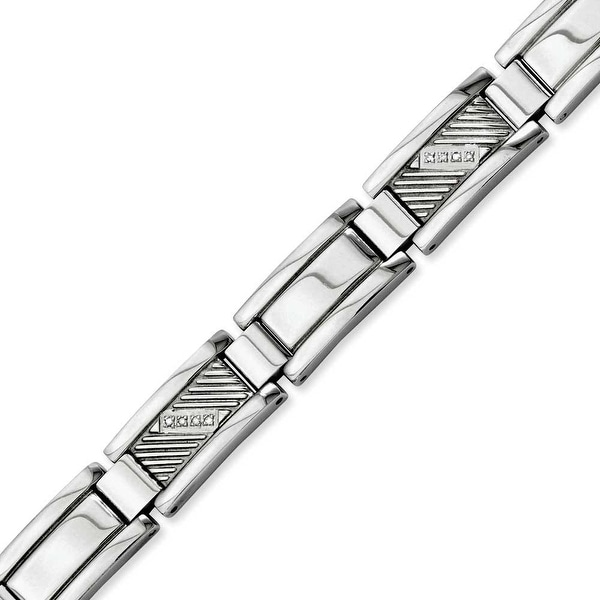 Stainless Steel Textured & Polished with Diamonds 8.5in Bracelet