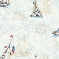 Brewster DLR47501 Flagler Navy Water's Edge Map Wallpaper - navy waters edge