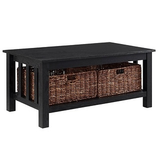 """Delacora WE-BD40MST  40"""" Long Laminate, Wood and Wicker Coffee Table"""