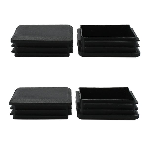 4pcs 80 x 80mm Plastic Square Ribbed Tube Inserts End Cover Cap, Indoor and Outdoor Furniture Floor Protector