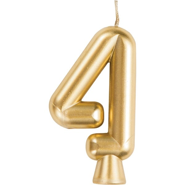 "Club Pack of 12 Gold ""4"" Birthday Candles 2.75"" - N/A"