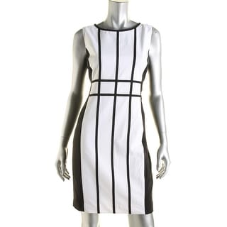 Calvin Klein Womens Petites Colorblock Piping Party Dress - 12P