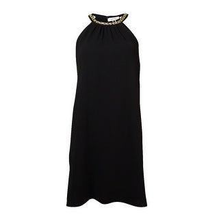Calvin Klein Women's Chain-Trim Halter Shift Dress - Black