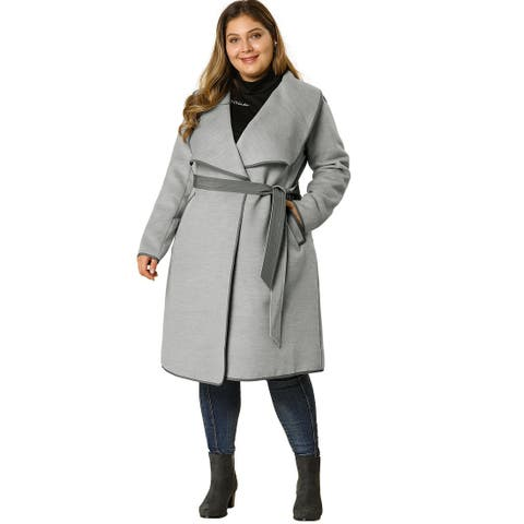 Women's Plus Size Belt Jacket Wide Lapel Cardigan Waterfall Coat - Grey