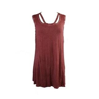 Style & Co. Dusty Rose Sleeveless Burnout-Dye Top L