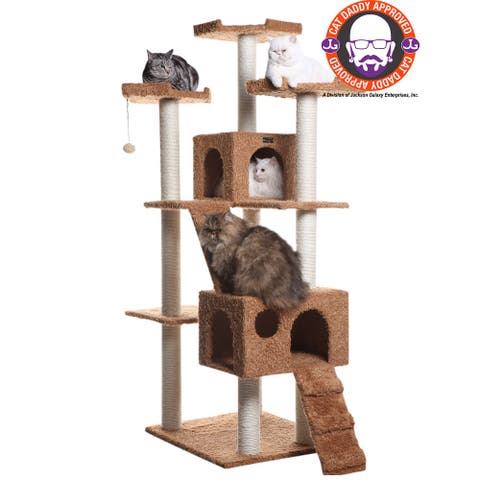 """Armarkat 74"""" Multi-Level Cat Tree Large Cat Play Furniture With Sratchhing Posts, Large Playforms, A7407"""