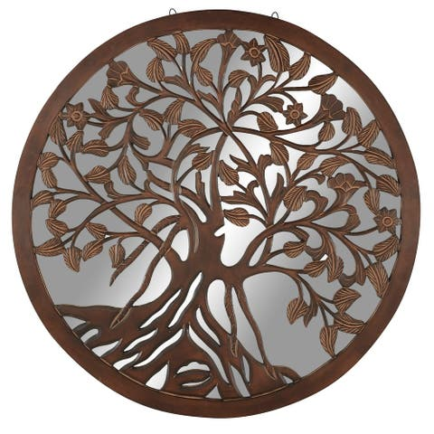 """Large Round Wall Art Mirror With Wood Carved Tree Center 48"""" X 48"""""""