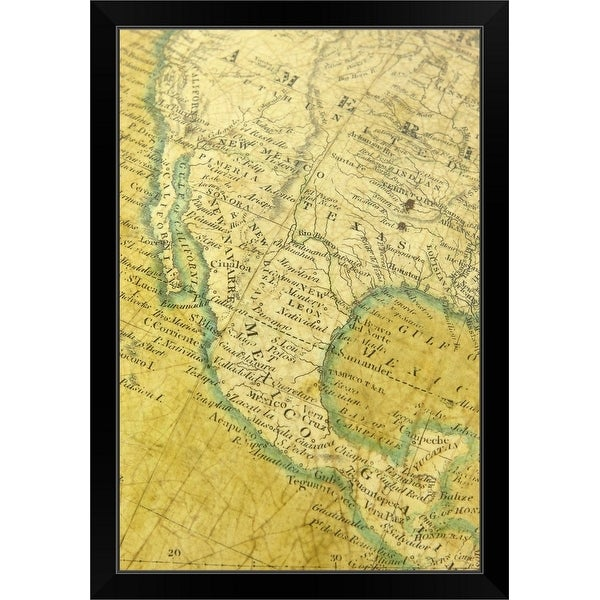 """""""Map of United States and Mexico"""" Black Framed Print"""