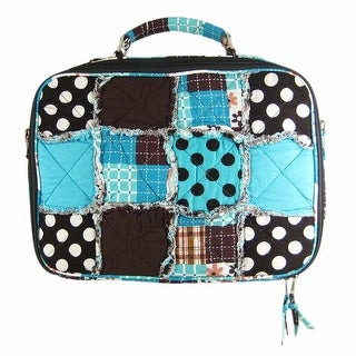 Blue / Brown Patchwork Fabric Laptop Computer Case
