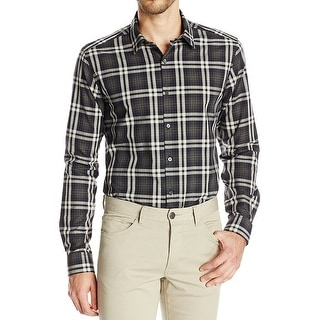 Theory NEW Gray Mens Size Large L Plaid Woven Button Down Shirt