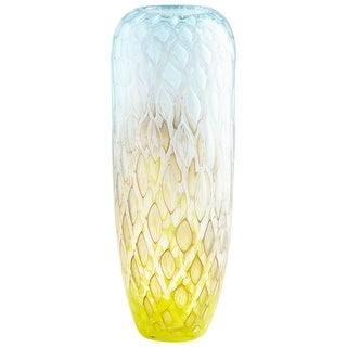 "Cyan Design 09208  Honeycomb 6"" Diameter Glass Vase - Yellow / Blue"