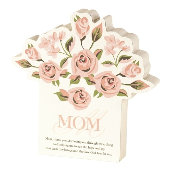 """6"""" Beige and Pink """"MOM"""" Printed with Quote Modern Style Tabletop Plaque - N/A"""