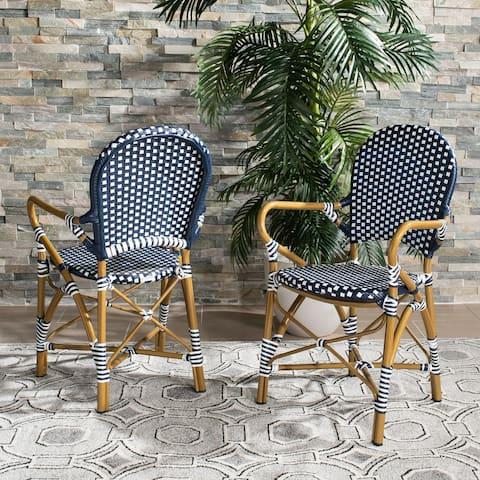 """SAFAVIEH Outdoor Living Hooper (Indoor/Outdoor) Stacking Armchair - Navy/White (Set of 2) - 20.8"""" x 21.6"""" x 35"""""""