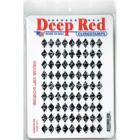 Deep Red Stamps Harlequin Script Rubber Cling Stamp - 4 x 6