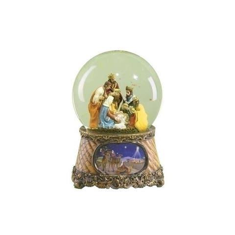 "6"" Musical Three Kings Nativity Scene Religious Christmas Glitterdome"