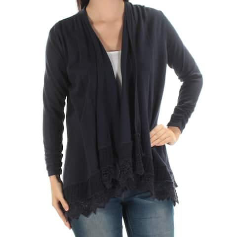STYLE & COMPANY Womens New 1256 Navy Ruched Crochet Trim Sweater S