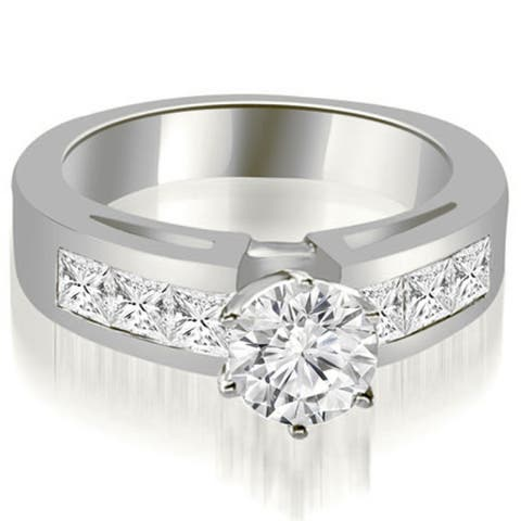 2.00 CT Channel-Set Round & Princess Diamond Engagement Ring in 14KT - White H-I